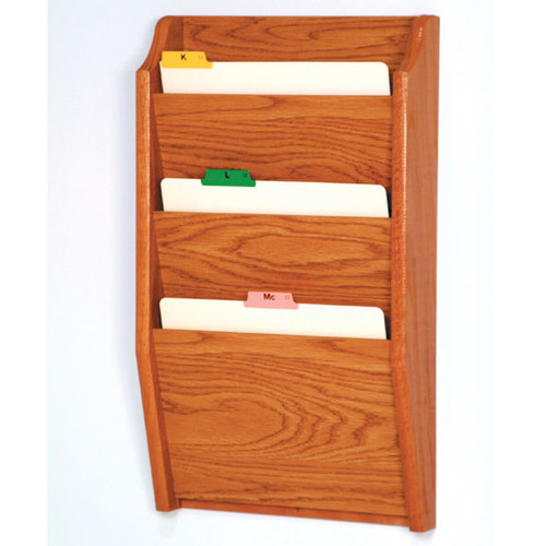 Picture of medium oak 3 pocket file/chart holder.  Files not included.
