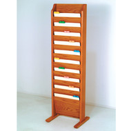 Picture of medium oak free standing, 10 pocket file/chart holder.  Files not included.