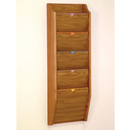 Picture of medium oak privacy 5 pocket file/chart holder.  Files not included.