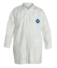 A photograph of a white 15010 DuPont Tyvek® lab coat, with 30 per case.
