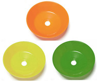 A photograph of an orange (top), yellow (bottom left), and green (bottom right) Guardian 100-009 Series ABS Plastic Eye/Face Wash Bowls
