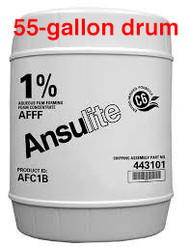 A  photograph of a 50001 Ansulite™ AFC1B 1% AFFF Concentrate, in a 55 gallon (208 liter) drum.