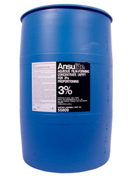 A  photograph of a 50005 Ansulite™ 3% AFFF Concentrate (AFC3B), in a 55 gallon (208 liter) drum.