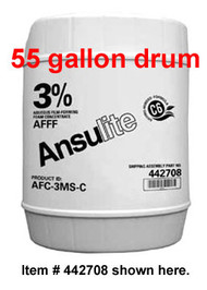 A  photograph of a 50007 Ansulite™ 3% AFFF MIL-SPEC Concentrate (AFC-3MS), in a 55 gallon (208 liter) drum.