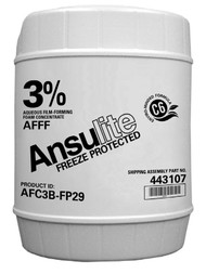 A  photograph of a 50008 Ansulite™ AFC3B-FP29 3% Freeze-Protected AFFF Concentrate, in a 5 gallon (19 liter) pail.