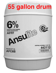 A  photograph of a 50011 Ansulite™ AFC6B 6% AFFF Concentrate, in a 55 gallon (208 liter) drum.