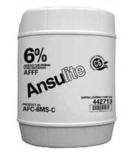 A  photograph of a 50012 Ansulite™ 6% AFFF MIL-SPEC Concentrate (AFC-6MS), in a 5 gallon (19 liter) pail.