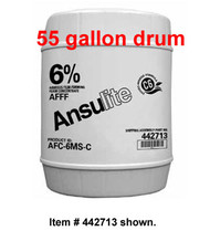 A  photograph of a 50013 Ansulite™ 6% AFFF MIL-SPEC Concentrate (AFC-6MS), in a 55 gallon (208 liter) drum.