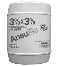 A  photograph of a 50014 Ansulite™ A334-LV 3%x3% Low-Viscosity AR-AFFF Concentrate, in a 5 gallon (19 liter) pail.