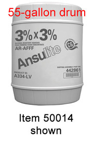 A  photograph of a 50015 Ansulite™ A334-LV 3%x3% Low-Viscosity AR-AFFF Concentrate, in a 55 gallon (208 liter) drum.