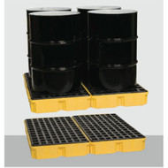 A photograph of a 04305 model 1634 eagle low-profile, 4 drum modular spill platform in 2 pieces in use.