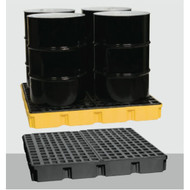 A photograph of a 04306 model 1635 eagle low-profile, 4 drum modular spill platform in use.