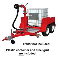 A picture of an Ansul tote on a Ansul Master Foam trailer (trailer sold separately). The plastic tote and grid are included.