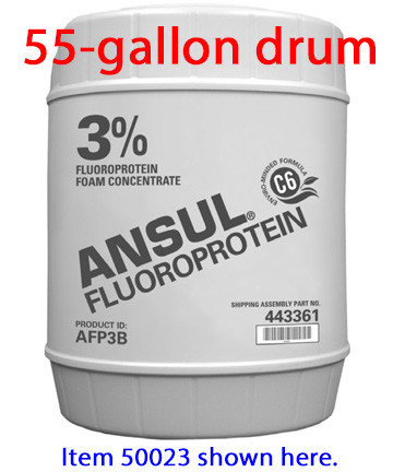 A  photograph of a 50024 Ansul® AFP3B 3% Fluoroprotein Foam Concentrate, in a 55 gallon (208 liter) drum.
