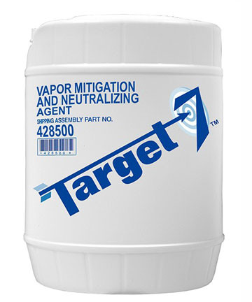 A picture of a 5-gallon (19 liter) pail of TARGET-7® Vapor Mitigation and Neutralizing Agent