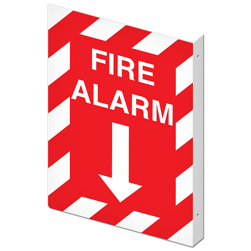 """Picture of the Double-Sided Fire Alarm Wall-Projecting L-Sign, 10"""" w x 14"""" h."""
