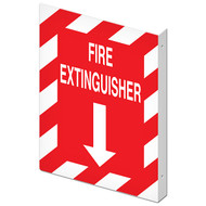 """Picture of the Double-Sided Fire Extinguisher Wall-Projecting L-Sign, 10"""" w x 14"""" h."""