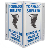 Picture of the Bilingual English/Spanish Tornado Shelter Wall-Projecting V-Sign w/ Tornado Icon.