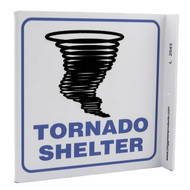 Tornado Shelter Wall-Projecting L-Sign w/ Tornado Icon
