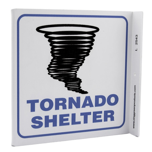 Picture of the Tornado Shelter Wall-Projecting L-Sign w/ Tornado Icon.