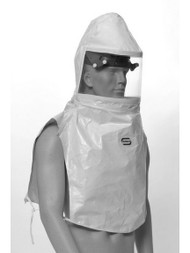A photograph of a bl-20sic bullard 20sic tychem sl hoods w/ taped + sealed seams, dual bib, being worn by a mannequin.