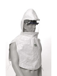 A photograph of a Bullard 20TICS Tychem QC hood equipped on a mannequin.