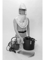 A photograph of a mannequin using a BL-CC20SYS Bullard CC20SYS complete airline respirator system.