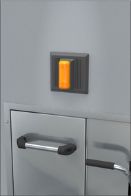 A photograph of an AP280-230 Series Electric Alarm Unit for Recessed Laboratory Units installed above a recessed safety station.