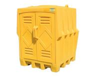 A photograph of a 04326 eagle 4 drum poly storage unit.