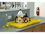 A photograph of a 04332 yellow eagle polyethylene containment utility tray in use.