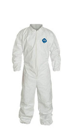 A photograph of white 15021 Tyvek® coveralls, with zipper front, and elastic wrists and ankles.