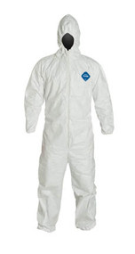 A photograph of white 15022 Tyvek® coveralls, with zipper front, elastic wrists and ankles, and hood.