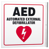 Picture of the AED Automated External Defibrillator Wall-Projecting L-Sign w/ Heart Icon.