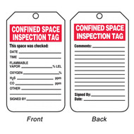 A photograph of back and front of a 08504 confined space inspection tag.