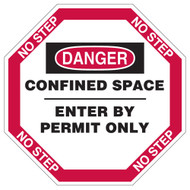 A photograph of a 08512-x manhole cover sign design, reading danger confined space, enter by permit only.