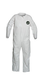 A photograph of front of a 15024 Proshield® 50 coveralls, with zipper front, and open wrists and ankles.
