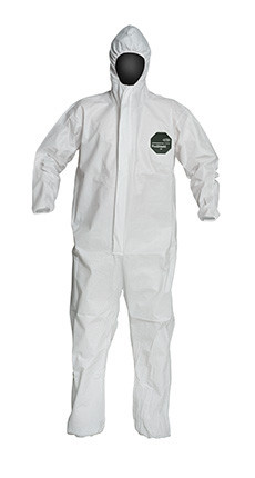A photograph of front of a 15026 Proshield® 50 coveralls, with zipper front, elastic wrists and ankles, and hood.