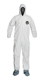 A photograph of front of a 15027 Proshield® 50 coveralls, with zipper front, elastic wrists and ankles, hood, and boots.