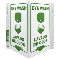 A photograph of a 00263-g bilingual english/spanish eye wash wall-projecting v-sign w/ graphics.