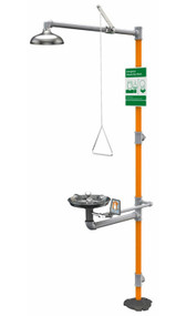A photograph of a gbfvr1909 Guardian vandal-resistant safety station wit Widearea™ eye/face wash and stainless steel bowl.
