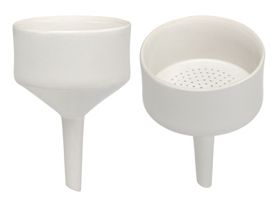 A photograph of front and top of a CG-1888 porcelain Büchner funnel.