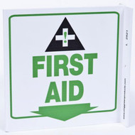 First Aid Wall-Projecting L-Sign w/ Icon and Down Arrow