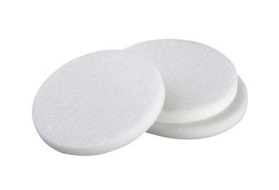 A photograph of two CG-201 fritted filter discs.