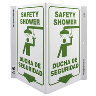 Picture of the Bilingual English/Spanish Safety Shower Wall-Projecting V-Sign w/ Icon and Down Arrow.