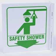 Photograph of the Safety Shower Wall-Projecting L-Sign w/ Graphics and Down Arrow.