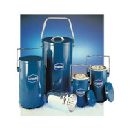 A photograph of 25000 DILVAC blue metal-cased glass Dewar flasks, with 4.5, 10, 1, and 2 liter flasks shown (left to right).