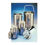 A photograph of 25001 DILVAC stainless steel-cased glass Dewar flasks, with 1, 2, and 4.5 liter flasks (left to right).