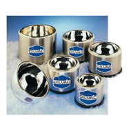 A photograph of several 25002 DILVAC low-profile stainless steel-cased glass dewar flasks.