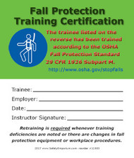 A photograph of front and back of a 11503 fall protection training certification card, with 50 per package.