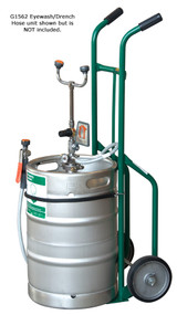 A photograph of a G1562 portable eye wash station (sold separately) being used with a Guardian G1562HC Two Wheel Hand Cart.